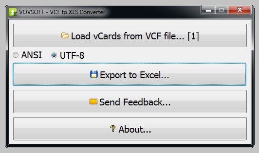 VovSoft VCF to XLS Converter Free Download for Windows