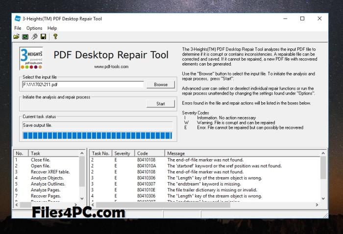 3-Heights PDF Desktop Repair Tool Crack Full Version Interface