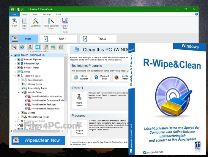 R-Wipe & Clean Full Version Interface