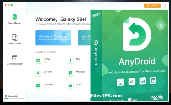 AnyDroid Full Version Interface