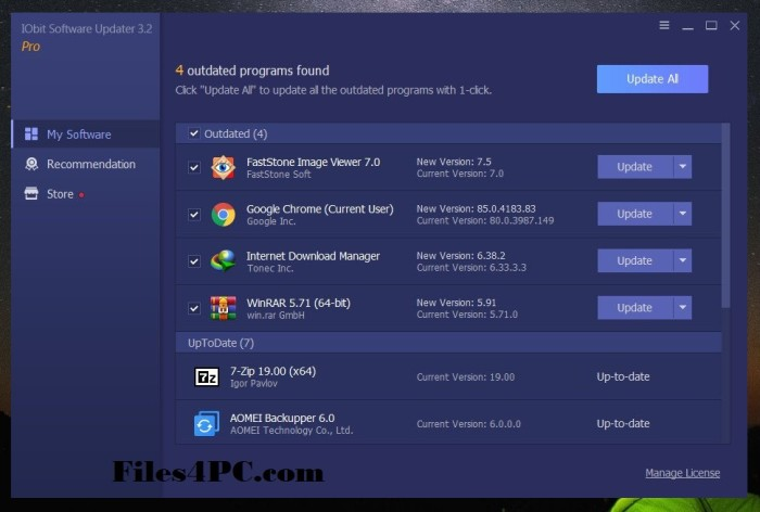 IObit Software Updater 3 Pro Full Version Interface